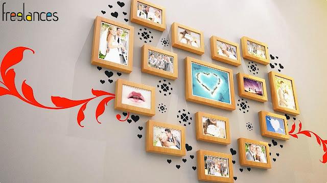 diaporama vidéo mariage modele cadres photos vue ensemble total 15 photos début