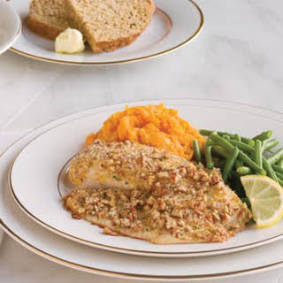 Pecan Tilapia with Sweet Potatoes and Green Beans.