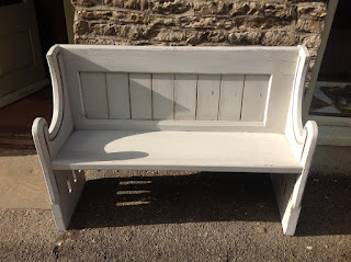 Painted pew - made with wood from local church £325.00