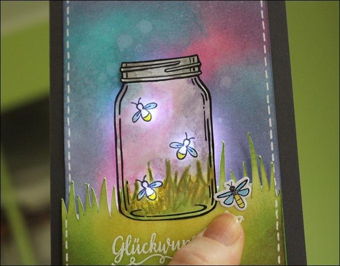 LED Karte Glühwürmchen Distress Ink Stampin Up Glasklare Grüße 04