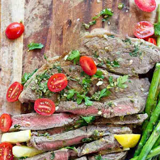 Grilled Top Sirloin Filets with Italian Salsa Verde.