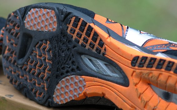 Mizuno Wave Universe 4 outsole wear after 45 miles
