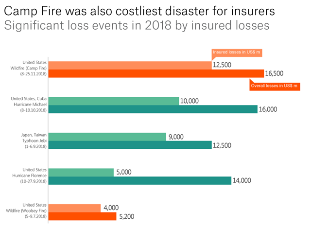 Significant loss events in 2018 by insured losses. Wildfire in California caused the highest insured losses of $12.5 billion. Graphic: Munich Re