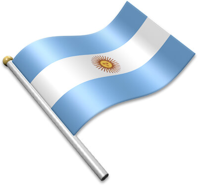 The Argentine flag on a flagpole clipart image