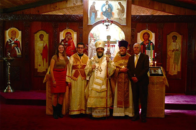 Vladyka with Fr. John, his father John, his son Subdeacon Nilus, and his daughter Juliana.