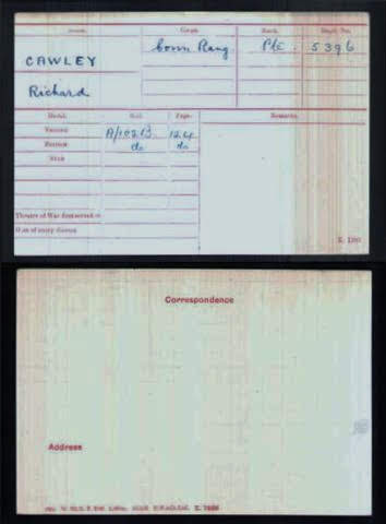 Richard  Cawley's Medal Index Card