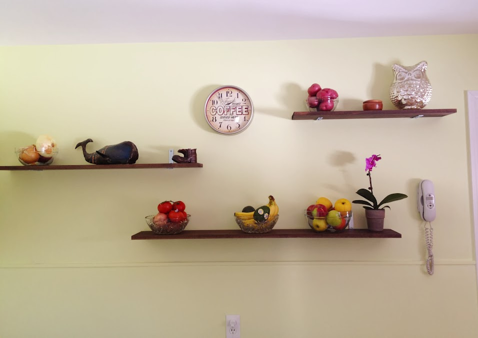 Fruit displayed on DIY industrial shelves