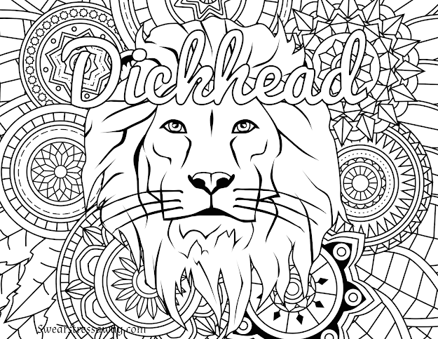 Free Printable Coloring Page  Dickhead  Swear Word Coloring Page  Sweary  Coloring Page