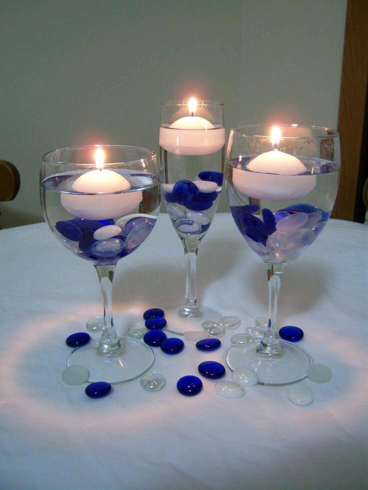 Centros de mesa usando copas de cristal for Centros de mesa con copas
