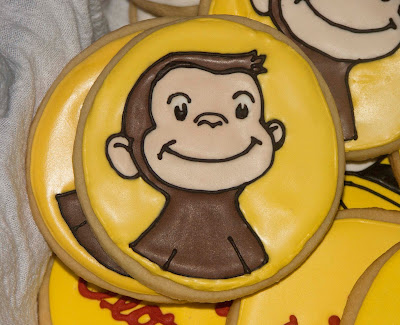 curious george monkey sugar cookie royal icing frosting man in the yellow hat third 3 3rd birthday party