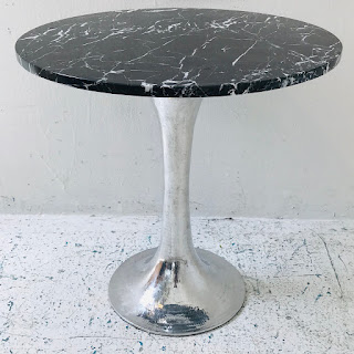 Stone-Top Pedestal Side Table #3