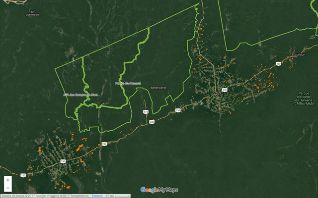 This map of protected areas in the south of the Amazon shows the deforestation pressure that already happens around conservation units that will be reduced, if the Provisional Measure is adopted. Photo: Imazon / Google