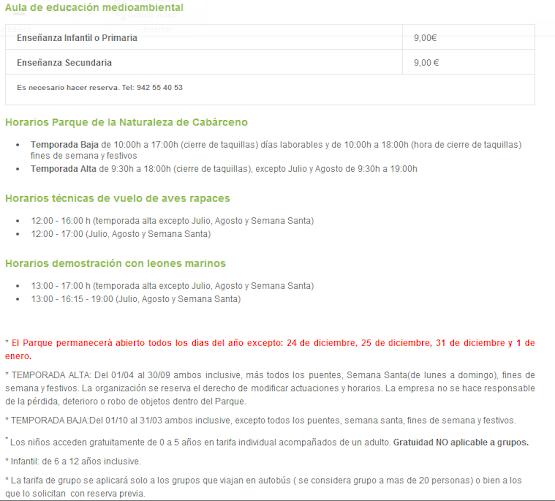 Precio entradas parque de cabarceno 2014