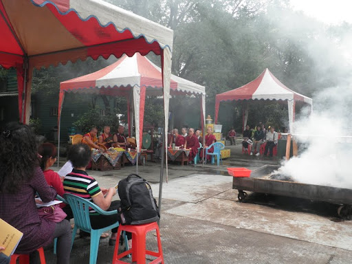 Incense puja led by Jinsiu Farlin's resident teacher Geshe Gyurme, Taiwan, April 2012. Photo by Ven. Thubten Osel.
