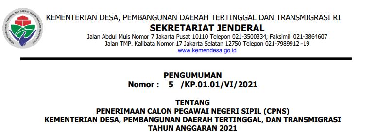 Pengumuman Rincian Formasi Dan Persyaratan Pendaftaran CPNS Kementerian Desa Tahun 2021