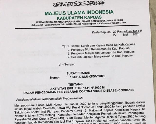 Positif Covid-19 Melonjak, MUI Kapuas Terbitkan Edaran Salat Ied di Rumah