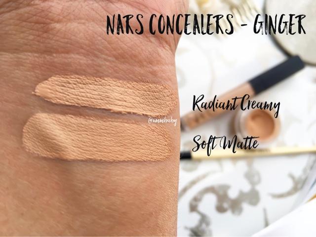 nars radiant creamy concealer vs nars soft matte complete concealer, nars concealers compared, nars radiant creamy concealer ginger vs nars soft matte concealer ginger, nc40 swatches, concealers