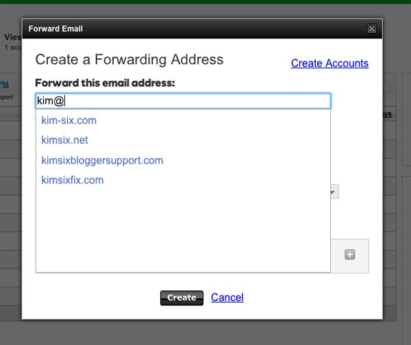 Creating a forwarding email address for blog