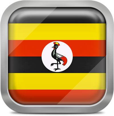 Uganda square flag with metallic frame