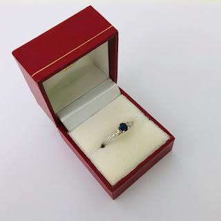 14K White Gold, Diamond, and Sapphire Ring