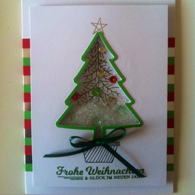 Karte, Schüttelkarte Baum,Stampin Up, Weihnachtskarte, Shaker Card, Loewchenzimmer, Löwchenzimmer