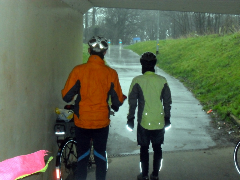 2 shelter from hail in underpass