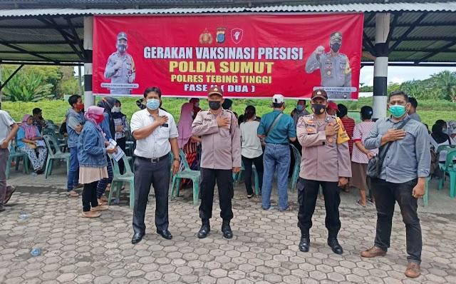 Polsek Padang Hulu Monitoring Gerakan Vaksinasi Presisi Polda Sumut Polres Tebing Tinggi Tahap 2