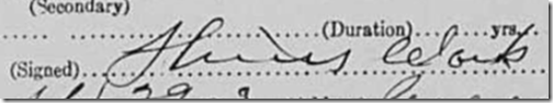 Signature of Dr. Hines Clark, Virgina Jineveel Campbell death certificate, signed 29 September 1913