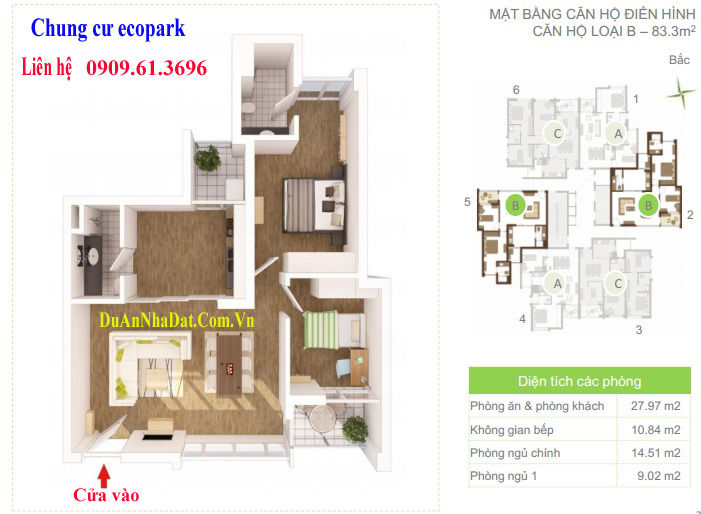 Thiết kế căn hộ B 83.3m2