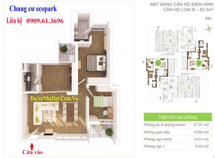 Thiết kế căn hộ 83.3m2 chung cư Ecopark Rừng Cọ