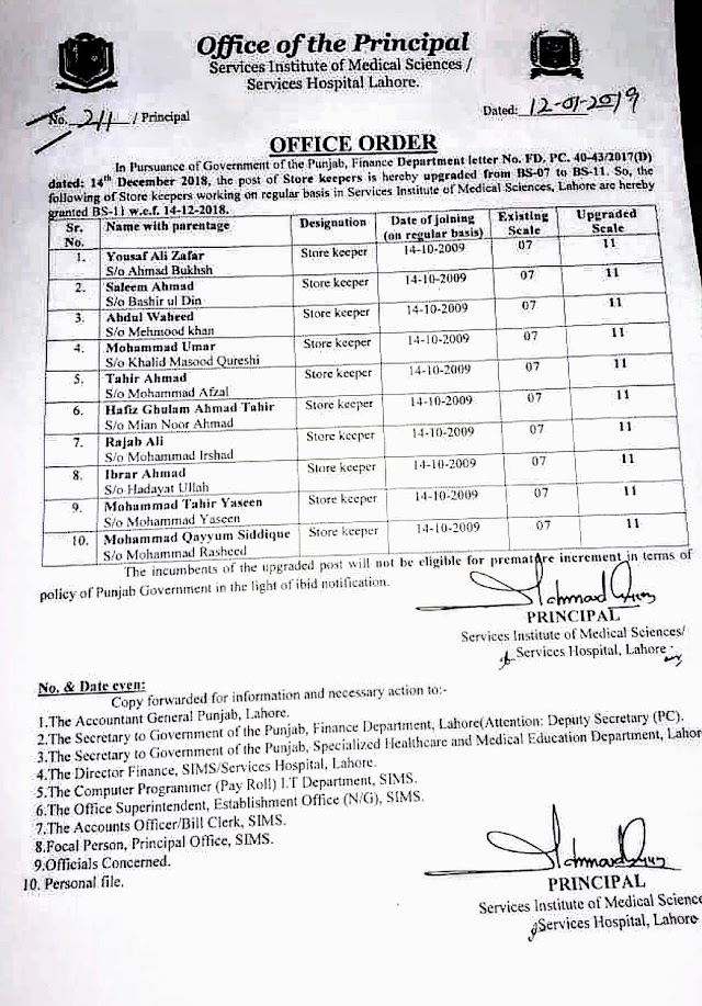 UP-GRADATION OF POST OF STORE KEEPER FROM BS-07 TO BS-11 IN SERVICE INSTITUTE OF MEDICAL SCIENCES / SERVICES HOSPITAL, LAHORE