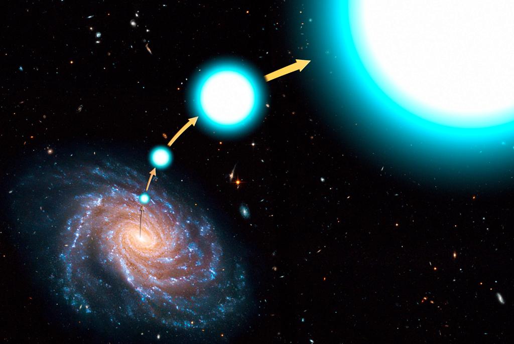 [ilustra%C3%A7%C3%A3o+de+uma+estrela+hiperveloz+escapando+da+Via+L%C3%A1ctea%5B4%5D]