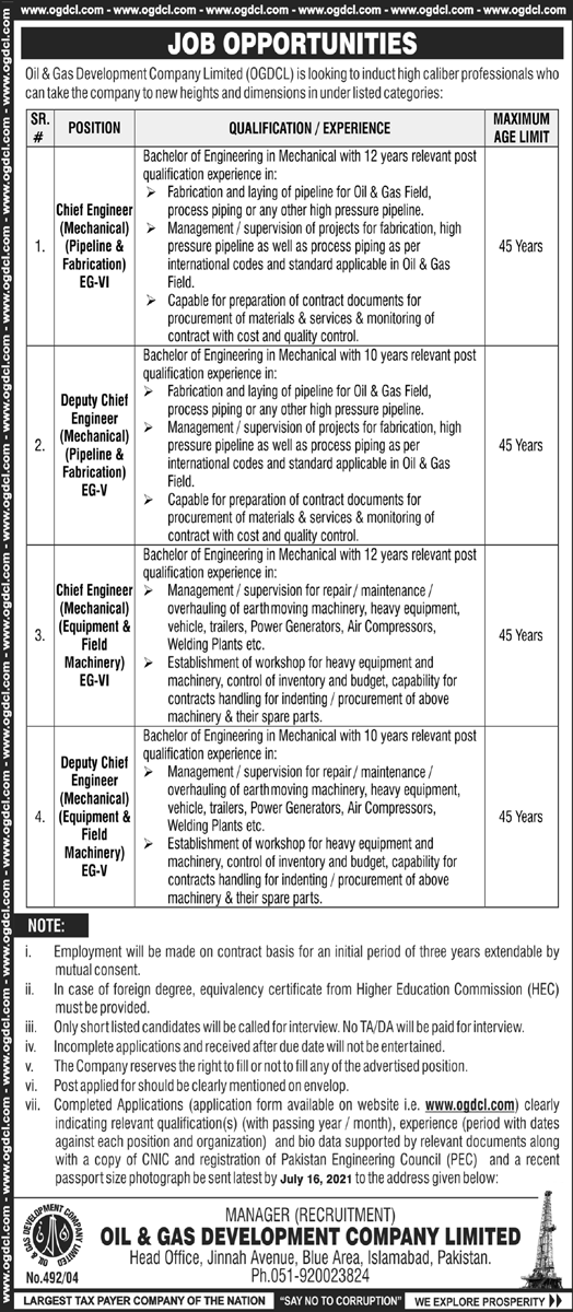 OGDCL Jobs 2021 Online Apply Now