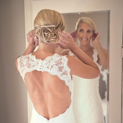 Heather - short beaded lace dress with round keyhole back