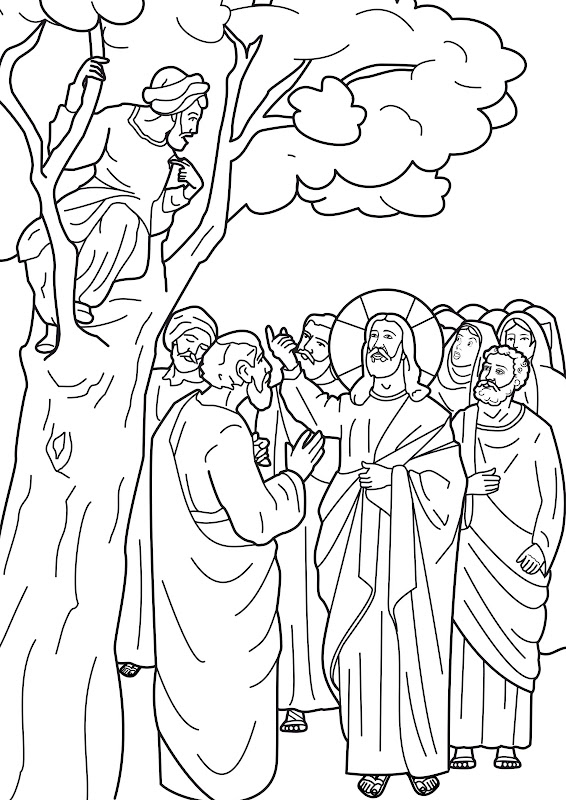 god jesus calls zacchaeus coloring pages