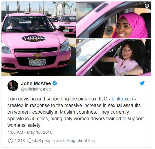 John McAfee promotes Pinki Taxi