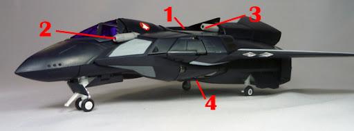 Macross 7 VF-17D Nightmare Armament weapon position