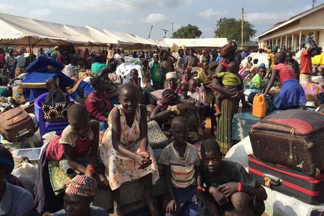South Sudanese refugees arrive at the Elegu border collection point in Adjumani district, northern Uganda. Photo: Barb Wigley / UNHCR