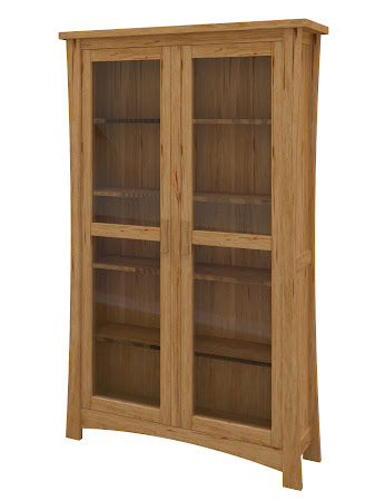 Zen Glass Door Bookshelf in Classical Maple