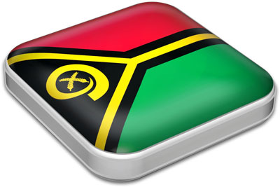 Flag of Vanuatu with metallic square frame