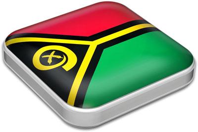Flag of Vanuatu with metallic square frame