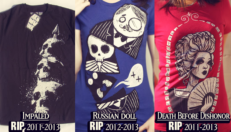 limited edition, limited tshirts, impaled skulls, skull shirt, horror shirt, marie antoinette shirt, red comiccon queen shirt, red shirt woman fans, russian doll shirt, russian doll skeleton, russian doll insides, goth russian doll, dead nesting doll, nesting doll skeleton