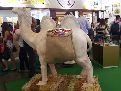 One of the more interesting displays was from Camel, which produces snacks like nuts and dried fruit. It had a camel status standing on a bed of its snacks.