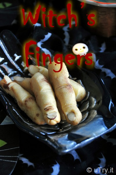 How to Make Witch's Fingers Shortbread Cookies -  Halloween Recipe 女巫手指餅乾 - 萬聖節食譜  http://uTry.it