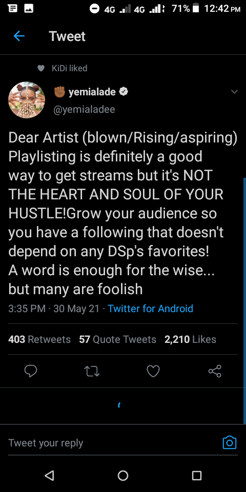 Yemi Alade Trolled Davido, WizKid And Others For Getting Low Streams On Digital Platforms (SCREENSHOT)