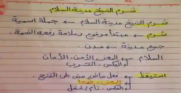 شرح درس شرم الشيخ مدينة السلام لغة عربية للصف الرابع الابتدائي ترم أول