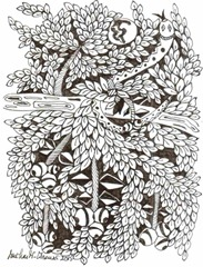 482 Zentangle Snake on a Tree