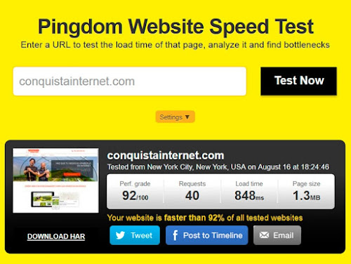 Resultados de test de velocidad web