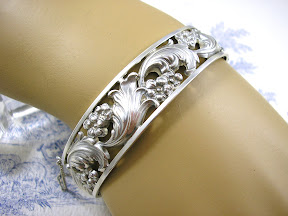 Art Deco Silver Bangle Jugendstil Antique Bracelet Floral 1930s