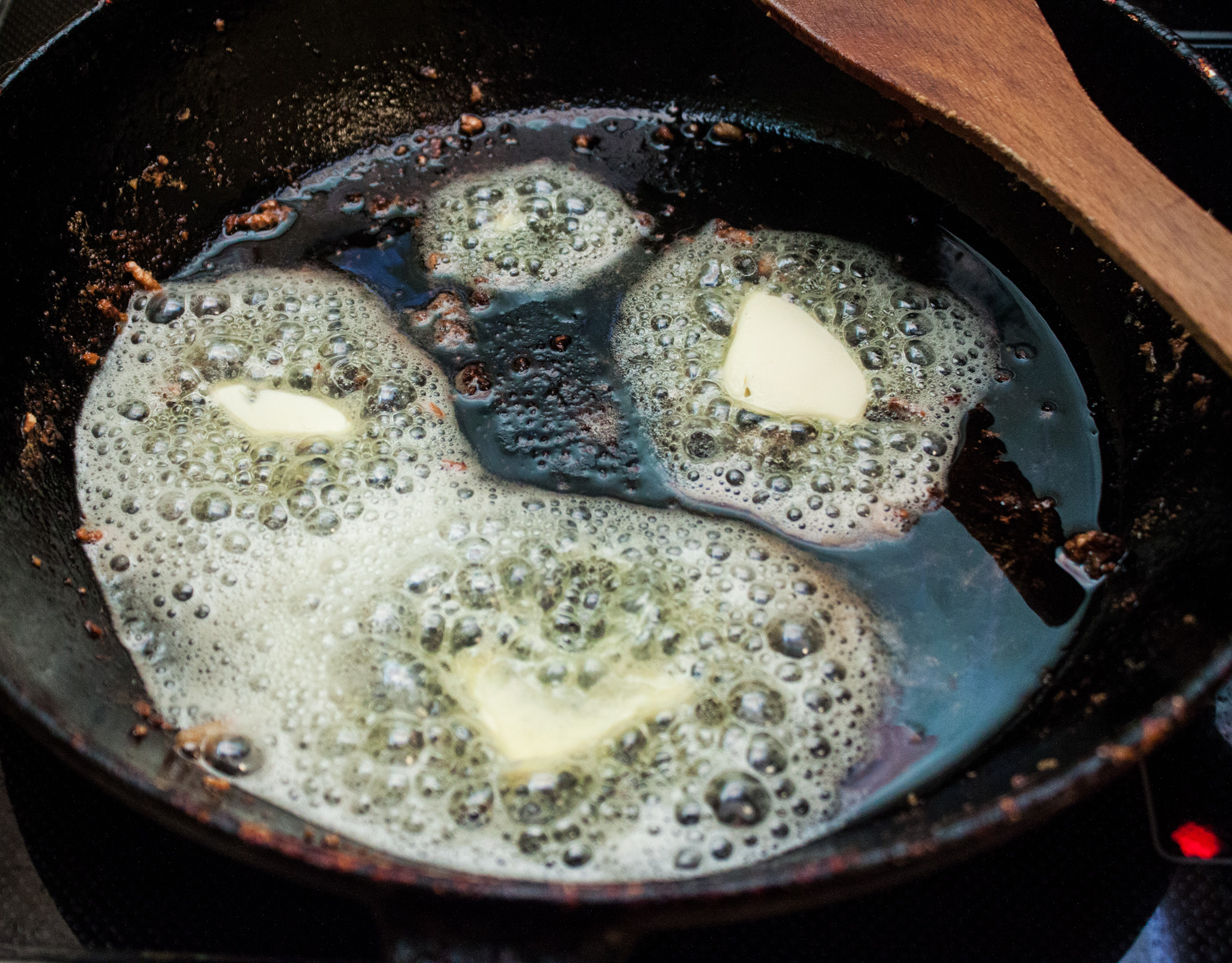 Photo: Take the meat out of the pan and melt about 2-3 table spoons of butter in the same pan.